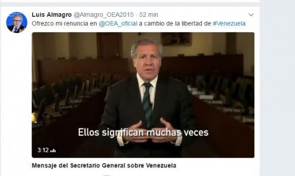Almagro y sus condiciones de renuncia en un video difundido en Twitter. Video: @Almagro_OEA2015
