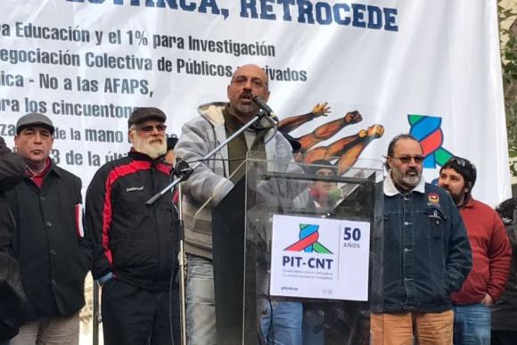 Marcelo Abdala en el acto del Pit-Cnt. Foto: Pablo Fernández.