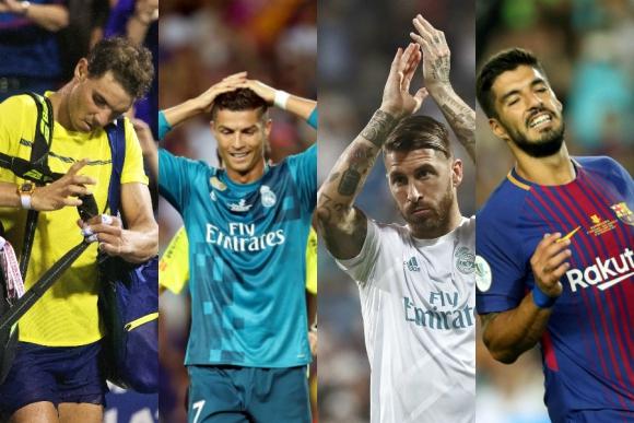 Nadal, Ronaldo, Ramos y Suárez, algunos de los mensajes mandados. Fotos: EFE