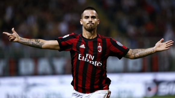 El español Suso festejando el segundo gol del Milan. Foto: AFP