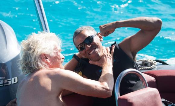 Richard Branson y Barack Obama. Foto: Jack Brockway/Virgin Handout