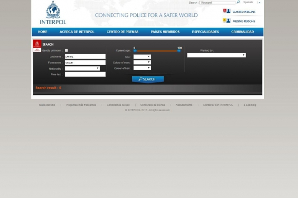 Búsqueda de Oscar Pérez en la web de Interpol. Foto: Captura.