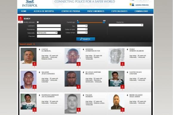 Venezolanos buscados por Interpol. Foto: Captura.
