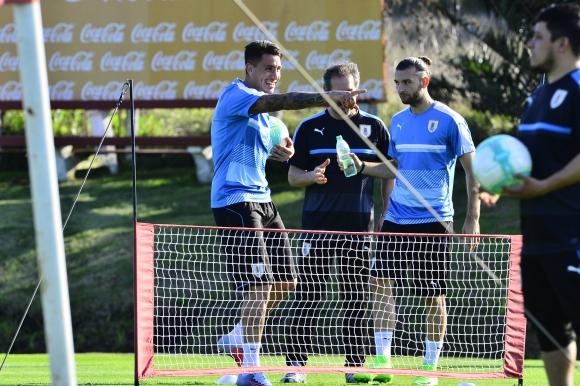 El entrenamiento celeste previo al choque ante Argentina. Foto: Gerardo Pérez