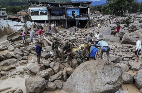 Avalancha en Colombia. Foto: AFP