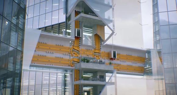 Ascensor que viaja en eje horizontal y vertical. Foto: Captura de video