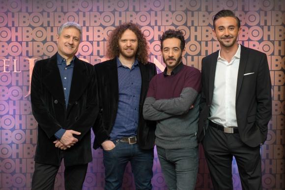 El guionista Malajovich, los directores Goldfrid y Fendrik, y el productor de HBO, Drago.