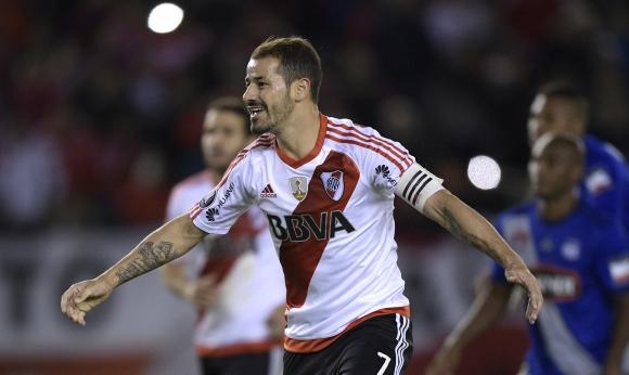 Rodrigo Mora celebrando su gol en el Monumental. FOTO: AFP.