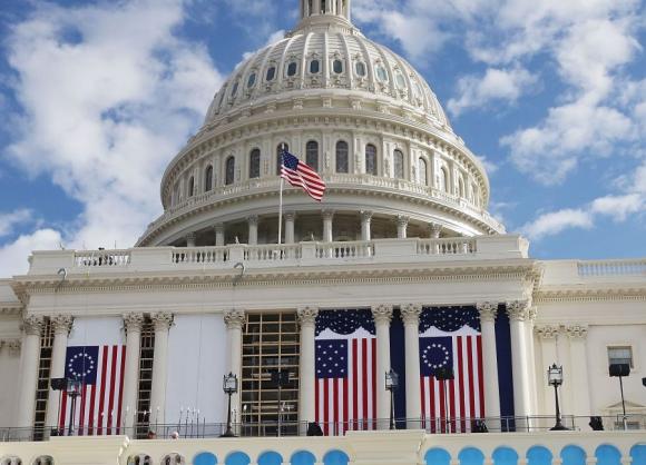 Capitolio: aprontes finales para la ceremonia del viernes. Foto: AFP