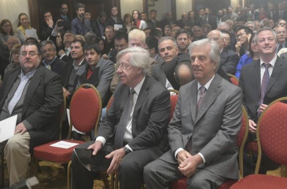 Da Rosa, Astori y Vázquez en la presentación del proyecto Ferrocarril Central. Foto: F. Flores