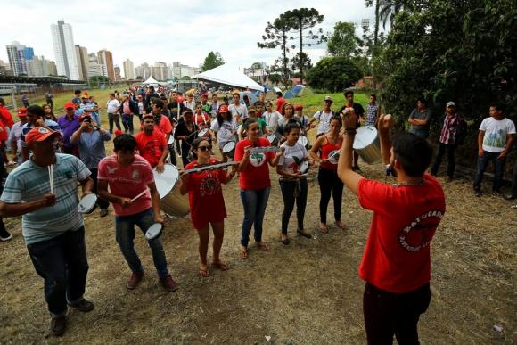 Campamento en apoyo a Lula. Foto: AFP