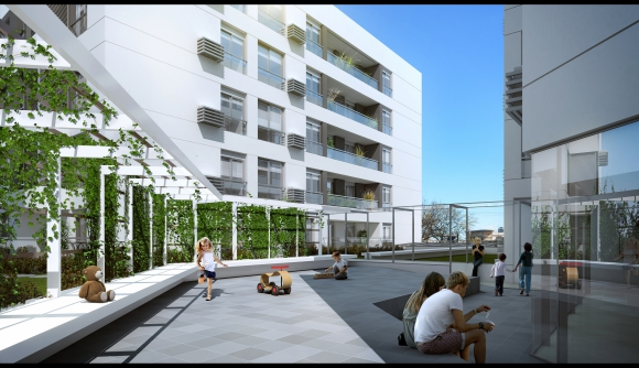 El Grand Boulevard contará con un área entre los bloques con jardín, arbustos y juegos, solo habilitada para residentes.