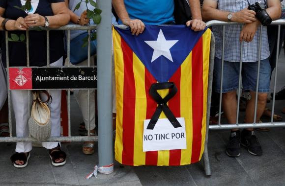 Manifestación contra los atentados yihadistas en Cataluña.Foto:Reuters
