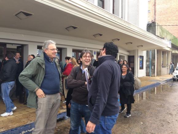 El presidente del Frente Amplio Javier Miranda luego de la Mesa Politica. Foto: Valeria Gil