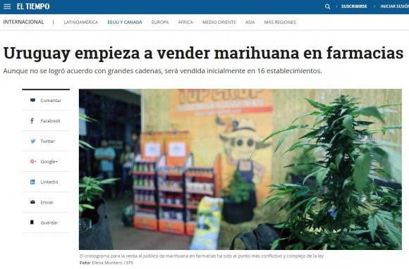La marihuana legal de Uruguay en los medios del mundo. Foto: captura El Tiempo