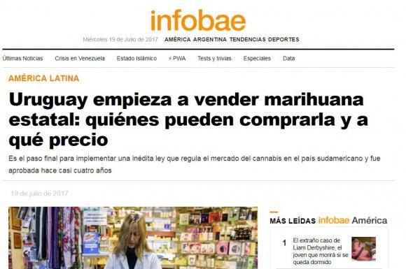 La marihuana legal de Uruguay en los medios del mundo. Foto: captura Infobae América