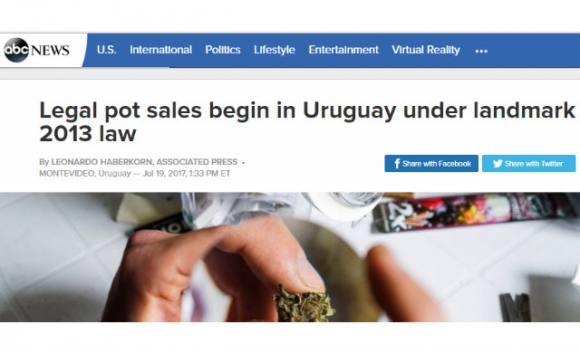 La marihuana legal de Uruguay en los medios del mundo. Foto: captura ABC News
