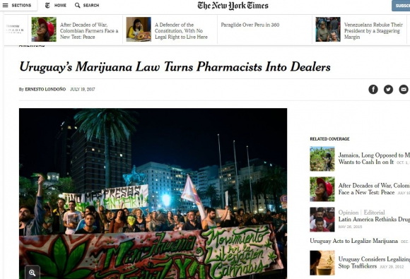 La marihuana legal de Uruguay en los medios del mundo. Foto: captura The New York Times