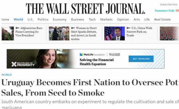La marihuana legal de Uruguay en los medios del mundo. Foto: captura The Wall Street Journal