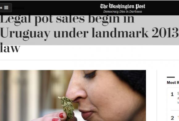 La marihuana legal de Uruguay en los medios del mundo. Foto: The Washington Post