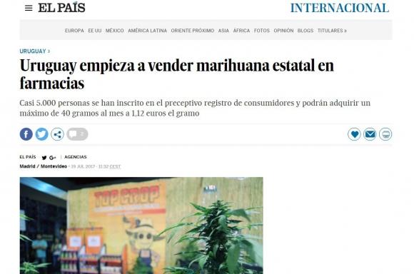 La marihuana legal de Uruguay en los medios del mundo. Foto: captura El País de Madrid