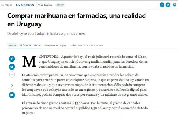 La marihuana legal de Uruguay en los medios del mundo. Foto: captura La Nación