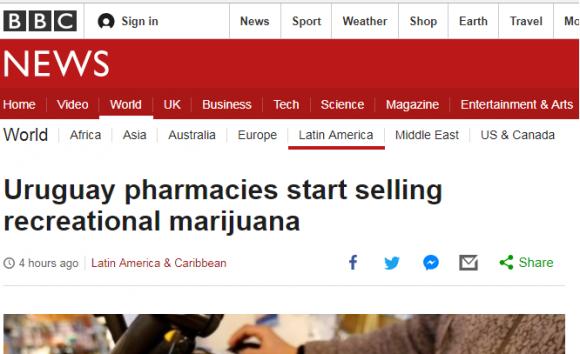 La marihuana legal de Uruguay en los medios del mundo. Foto: captura BBC News