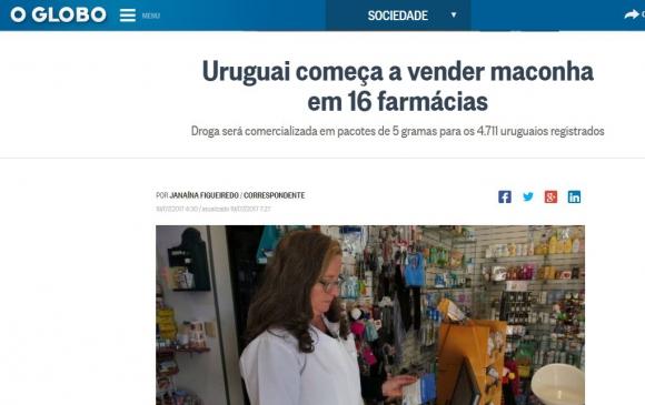 La marihuana legal de Uruguay en los medios del mundo. Foto: captura OGlobo