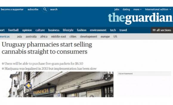 La marihuana legal de Uruguay en los medios del mundo. Foto: The Guardian