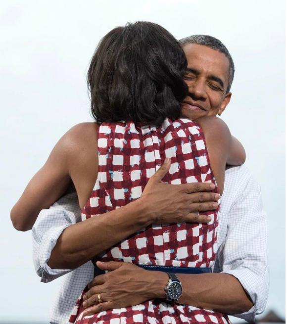 El abrazo con Michelle fue su forma de celebrar San Valentín.
