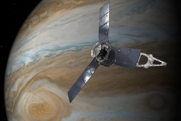 Representación de la sonda Juno sobre Jupiter. Foto: NASA