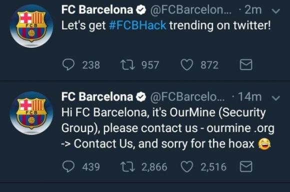 Hackearon las cuentas del Barcelona. Foto: Captura Twitter.