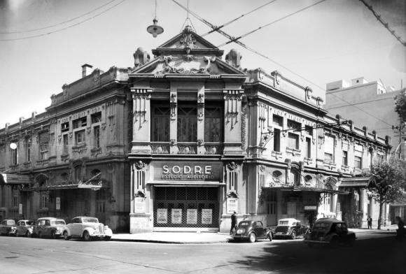 El Estudio Auditorio del Sodre como se veía en Andes y Mercedes por 1931. Foto: Archivo Sodre