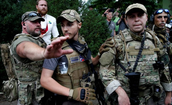 Manifestantes supremacistas hoy en Charlottesville. Foto: Reuters.