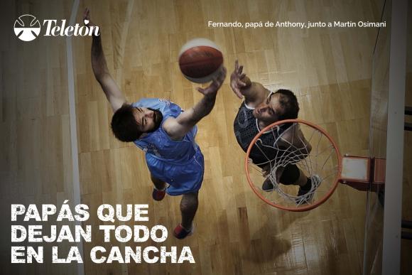 Una de las fotografías de la campaña con Martín Osimani. Foto: Teletón