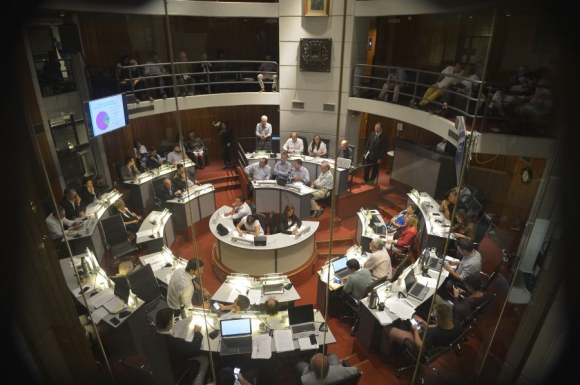 Junta Departamental: el intendente estuvo cinco horas y media. Foto: Gerardo Pérez