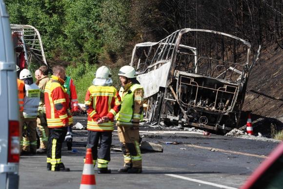 Accidente de ómnibus turístico en Alemania. Foto: AFP