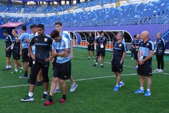 La selección uruguaya ingresando el estadio Daejeon. Foto: @Uruguay