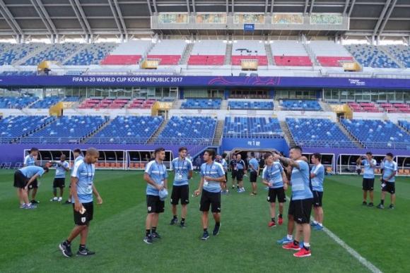 La selección celeste observando el campo de juego y tomando fotografías. Foto: @Uruguay