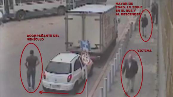 Secuencias de la rapiña a hombre en Ciudad Vieja. Foto: Suprema Corte de Justicia