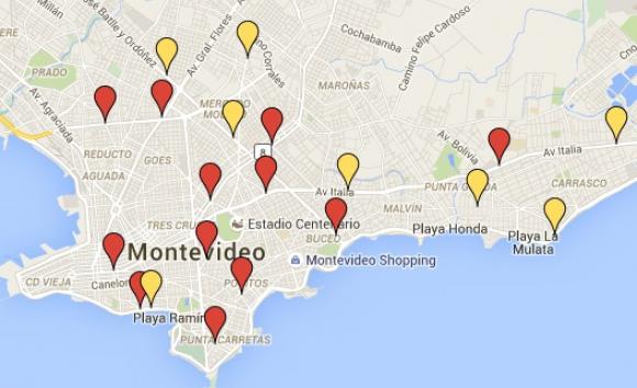 Mapa con las 20 esquinas que tendrán semáforoso. Foto: Captura
