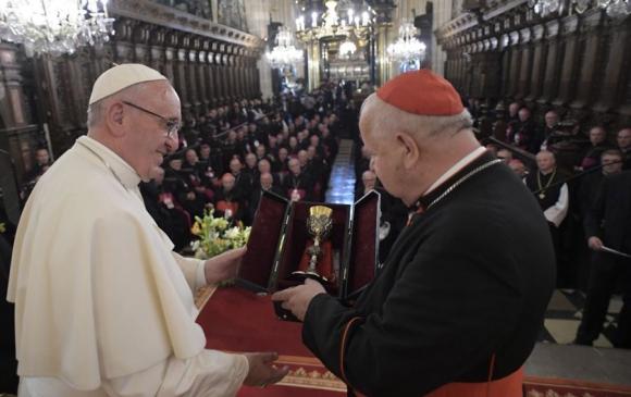 Visita: Francisco en la Catedral de Francovia. Foto: AFP