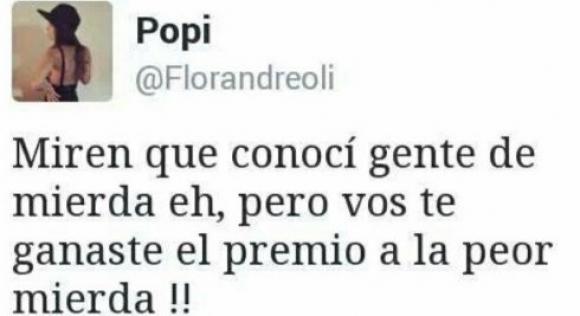 El violento mensaje de Flor Andreoli en Twitter
