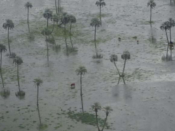 Río Cebollatí desbordado en Lascano. Foto: Ricardo Figueredo