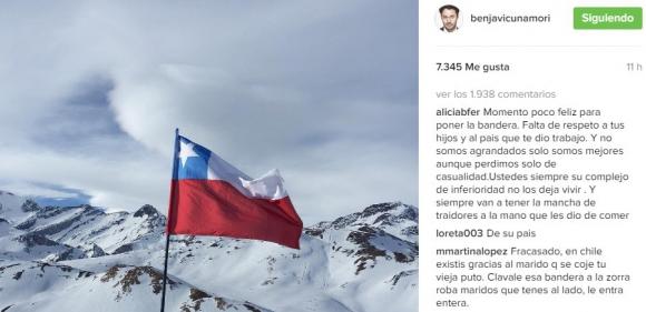 Vicuña publicó la bandera de Chile y le llovieron insultos (Instagram)