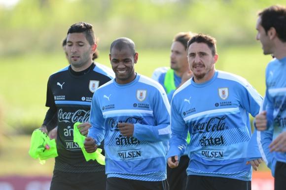 Los jugadores de Uruguay en el entrenamiento del 3 de octubre de 2016. Foto: Ariel Colmegna