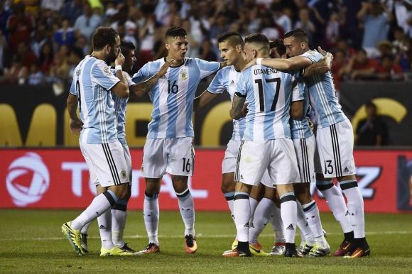 El festejo de los jugadores de Argentina. Foto: AFP.