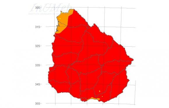 El índice de riesgo forestal emitido por el Inumet el 27 de enero. Foto: Inumet