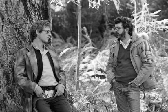 Harrison Ford y George Lucas en el rodaje de El regreso del Jedi (1983)