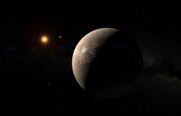 El planeta Próxima b orbitando su estrella enana roja. Foto: Reuters